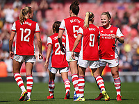 Football - 2021 / 2022 Women's Super League - Arsenal vs Chelsea - Emirates Stadium - Sunday 5th September 2021<br /> <br /> Arsenal Women's Beth Mead (9) celebrates scoring her side's second goal with Kim Little.<br /> <br /> COLORSPORT/Ashley Western