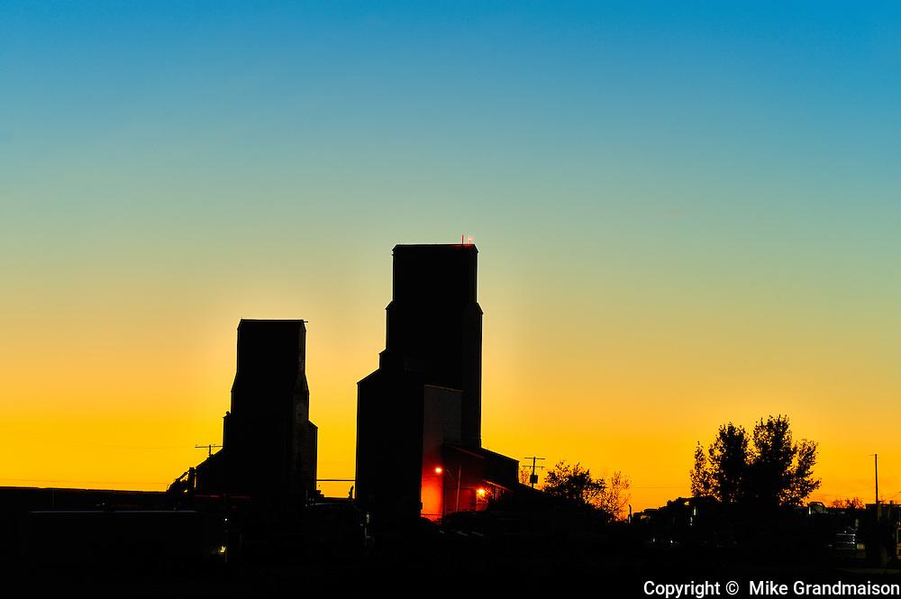 Grain elevators st sunset<br /> Tuxford<br /> Saskatchewan<br /> Canada