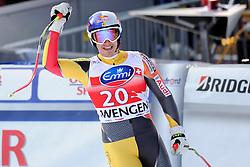 19.01.2013, Lauberhornabfahrt, Wengen, SUI, FIS Weltcup Ski Alpin, Abfahrt, Herren, im Bild Erik Guay (CAN) // reacts after his run of mens downhillrace of FIS Ski Alpine World Cup at the Lauberhorn downhill course, Wengen, Switzerland on 2013/01/19. EXPA Pictures © 2013, PhotoCredit: EXPA/ Freshfocus/ Urs Lindt..***** ATTENTION - for AUT, SLO, CRO, SRB, BIH only *****
