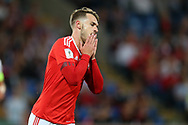 Aaron Ramsey of Wales reacts after missing a goal chance.Wales v Austria , FIFA World Cup qualifier , European group D match at the Cardiff city Stadium in Cardiff , South Wales on Saturday 2nd September 2017. pic by Andrew Orchard, Andrew Orchard sports photography