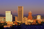 Image of the Portland, Oregon skyline with Mount Hood, Pacific Northwest by Randy Wells