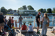 """Henley on Thames, United Kingdom, 29th June 2018, Friday, """"Henley Royal Regatta"""",  Spectators watching the Qualifying races, [Time Trails] Henley Reach, River Thames, Thames Valley, England, © Peter SPURRIER, 29/06/2018"""