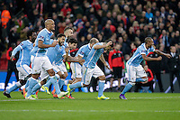 GOAL CELEBRATION - Manchester City players celebrate winning the Capital One Cup on penalties<br /> <br /> Photographer Craig Mercer/CameraSport<br /> <br /> Football - Capital One Cup Final - Liverpool v Manchester City - Sunday 28th February 2016 - Wembley - London<br />  <br /> © CameraSport - 43 Linden Ave. Countesthorpe. Leicester. England. LE8 5PG - Tel: +44 (0) 116 277 4147 - admin@camerasport.com - www.camerasport.com