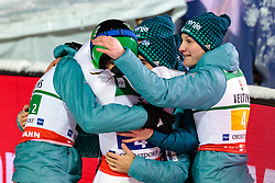 21.01.2018, Heini Klopfer Skiflugschanze, Oberstdorf, GER, FIS Skiflug Weltmeisterschaft, Teambewerb, im Bild Anze Semenic (SLO), Peter Prevc (SLO), Jernej Damjan (SLO), Jernej Damjan (SLO) jubeln // Anze Semenic of Slovenia, Peter Prevc of Slovenia, Jernej Damjan of Slovenia, Domen Prevc of Slovenia celebrate during Team competition of the FIS Ski Flying World Championships at the Heini-Klopfer Skiflying Hill in Oberstdorf, Germany on 2018/01/21. EXPA Pictures © 2018, PhotoCredit: EXPA/ JFK
