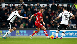 Matty Taylor of Bristol City takes on Bradley Johnson and Richard Keogh of Derby County - Mandatory by-line: Robbie Stephenson/JMP - 11/02/2017 - FOOTBALL - iPro Stadium - Derby, England - Derby County v Bristol City - Sky Bet Championship