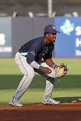 May 28, 2018 - Tampa, FL, U.S. - TAMPA, FL - MAY 23: Lucius Fox (2) of the Stone Crabs sets up at short stop during the Florida State League game between the Charlotte Stone Crabs and the Tampa Tarpons on May 23, 2018, at Steinbrenner Field in Tampa, FL. (Photo by Cliff Welch/Icon Sportswire) (Credit Image: © Cliff Welch/Icon SMI via ZUMA Press)