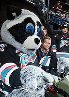 KELOWNA, CANADA - DECEMBER 2: Rocky Racoon, the mascot of the Kelowna Rockets rides his Polaris Sportsman ATV on December 2, 2015 at Prospera Place in Kelowna, British Columbia, Canada.  (Photo by Marissa Baecker/Shoot the Breeze)  *** Local Caption *** Rocky Racoon;