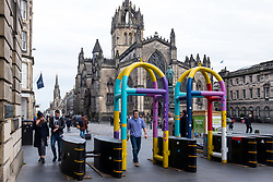 View of new anti-terrorist vehicle barriers on the Royal Mile in Edinburgh, Scotland, United Kingdom.