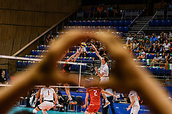 June 17, 2018 - Varna, Bulgaria - Nicholas Hoad,L, Canada, paly the ball against Le Goff Nicolas, R, France, during Mens Volleyball Nations League, VNL, match between France and Canada at Palace of Culture and Sport in Varna, Bulgaria on June 17, 2018  (Credit Image: © Hristo Rusev/NurPhoto via ZUMA Press)
