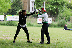 © Licensed to London News Pictures. 10/05/2020. London, UK. Members of public practicing boxing in London Fields park in Hackney, north London. Prime Minister Boris Johnson is set to announce measures to ease the coronavirus lockdown, which was introduced on 23 March to slow the spread of the COVID-19. Photo credit: Dinendra Haria/LNP