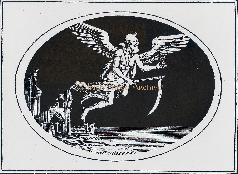 Old Father Time: Wood engraving from 'Select Fables', Newcastle, 1820, by Thomas Bewick.