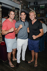 Left to right, ADAM BIDWELL,  unbeaten British super-middleweight professional boxer FRANK BOGLIONI and OWAIN WALBYOFF at the Weigh In Party for the upcoming Boodles Boxing Ball held at Bunga Bunga, Battersea Bridge Road, London on 5th September 2013.