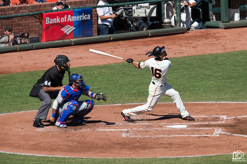 San Francisco Giants left fielder Angel Pagan (16) swings at a pitch against the Los Angeles Dodgers at AT&T Park in San Francisco, Calif., on October 1, 2016. (Stan Olszewski/Special to S.F. Examiner)