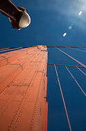 Looking up at one of the towers of the Golden Gate Bridge, San Francisco, California