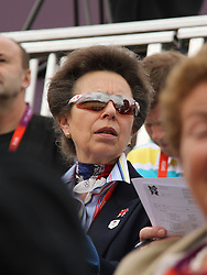 © licensed to London News Pictures. London, UK. 01/08/2012. Princess Anne watching Zara Phillips compete at the Olympic Equestrian Showjumping at Greenwich Park on August 1, 2012. Photo credit: Russell Marsh/LNP