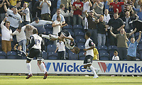 Photo: Aidan Ellis.<br /> Preston North End v Cardiff City. Coca Cola Championship. 09/09/2006.<br /> Preston's Danny Pugh celebrates his winning goal in style