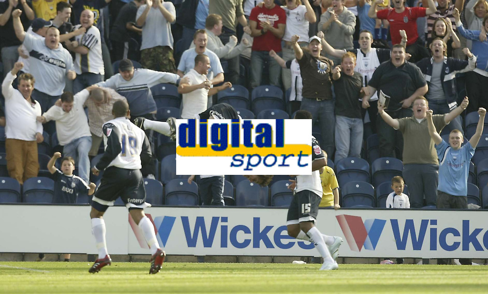 Photo: Aidan Ellis.<br /> Preston North End v Cardiff City. Coca Cola Championship. 09/09/2006.<br /> Preston's Danny Pugh celebrates his winning goal in style