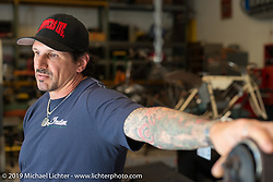 Billy Lane at his shop, Ormond Beach, FL. Monday, March 16, 2015.  Photography ©2015 Michael Lichter.