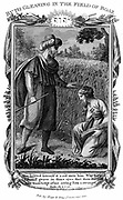 Ruth, Moabite widow, gleaning amongst the  corn, and attracts the attention of Boaz who marries her. Thus she becomes great-grandmother of King David. Ruth 2:10. Copperplate engraving c1804.