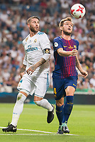 Real Madrid's Sergio Ramos and FC Barcelona's Ivan Rakitic during Supercup of Spain 2nd match at Santiago Bernabeu Stadium in Madrid, Spain August 16, 2017. (ALTERPHOTOS/Borja B.Hojas)