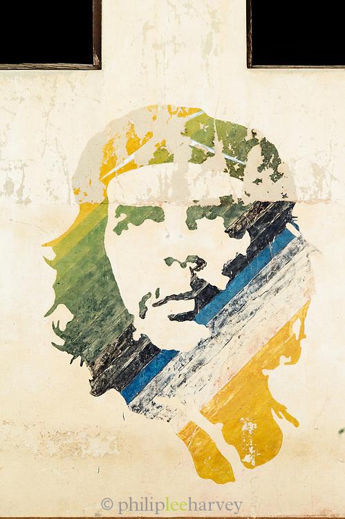 Che Guevara mural on wall in city, Havana Cuba