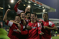 Photo: Paul Thomas.<br />Oldham Athletic v Swindon Town. Coca Cola League 1.<br />10/12/2005.<br />Swindon celebrate Neale McDermott's goal.