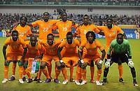 fotball<br /> Team picture Ivory Coast front Hi left Gervinho Souleymane Bamba Yaya Toure Salomon Kalou Kolo Toure front v left Siaka Tiene Didier Zokora Didier Drogba Cheik Tiote Jean Jacques Gosso Boubacar Barry Copa Cote D Ivoire Coupe D Afrique the Nations  08 02 2012 <br /> Norway only