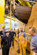 HRH The Princess Royal meets boatbuilding students during her commemorative visit to Boathouse 4 at Portsmouth Historic Dockyard today. The Boathouse opened last year following a £5.7million restoration and features a boatbuilding academy, The Forgotten Craft exhibition, family activities and Midships restaurant.<br /> Picture date: Monday March 20, 2017.<br /> Photograph by Christopher Ison ©<br /> 07544044177<br /> chris@christopherison.com<br /> www.christopherison.com