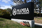 General overall view of sign at the entrance to the Mamba Sports Academy, Thursday, March 26, 2020, in Thousand Oaks, Calif. Kobe Bryant and daughter Gianna Bryant, were heading to the sports complex when on Sunday, January 26, 2020, they were among the people killed in a helicopter crash when a Sikorsky S-76B helicopter, piloted by Ara Zobayan, crashed around 30 miles northwest of downtown Los Angeles, en route from John Wayne Airport to Camarillo Airport.