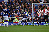 Arouna Kone of Everton shoots and scores his teams 2nd goal. Barclays Premier League match, Everton v Sunderland at Goodison Park in Liverpool on Sunday 1st November 2015.<br /> pic by Chris Stading, Andrew Orchard sports photography.