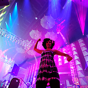 Dancer at the Lusine performance in the EMP Sky Church at the the 2011 Bumbershoot Festival in Seattle