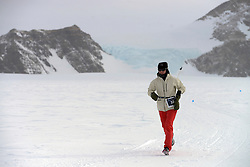 © Licensed to London News Pictures. Union Glacier, Antarctica. Great Britains FIONA OAKES competing before winning the women's race in the 9th edition of the Antarctic Ice Marathon in record time. The Ice Marathon took place at Union Glacier, Antarctica, and is <br /> recognised as the world's southernmost marathon and the only official running event within the <br /> Antarctic Circle, taking place just a few hundred miles from the South Pole at the foot of the Ellsworth Mountains. Temperatures were an ice cool -21C when the event got underway at 13:10 GMT on Wednesday 20 <br /> November. A total of 56 athletes from 21 countries took part in the ninth edition of the event, which is <br /> an essential race for marathon runners seeking to join the Seven Continents Marathon Club. Photo credit: Mike King/LNP