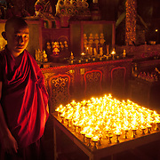 A young monk in a monastery, Tibet.