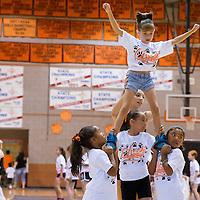 071813       Brian Leddy<br /> Makayla Torres practices a routine during the Gallup Bengal Cheer Camp Thursday morning. The camp last from Monday to Thursday and saw about 100 kids participate.