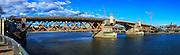USA, Oregon, Portland, Burnside Bridge. digital composite, panorama