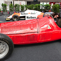 MILAN, ITALY - JUNE 23: The legendary 1951 Alfa Romeo 159 nicknamed 'Alfetta' that won the 1951 F1 World Championship driven by Manuel Fangio estimated in excess of 15millions Euro is displayed on June 23, 2010 in Milan, Italy. Italian car manufacturer Alfa Romeo celebrates its 100th anniversary as the original company A.L.F.A was founded in Milan on June 24, 1910...***Agreed Fee's Apply To All Image Use***.Marco Secchi /Xianpix. tel +44 (0) 207 1939846. e-mail ms@msecchi.com .www.marcosecchi.com