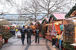 BERLIN, Dec. 22, 2016  Policemen patrol in the reopened Christmas market at the Breitscheid Square in Berlin, capital of Germany, on Dec. 22, 2016. The Christmas market here attacked on Monday, was reopened on Thursday.  gl) (Credit Image: © Shan Yuqi/Xinhua via ZUMA Wire)