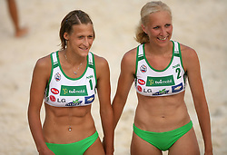 Ursa Podlesnik  and Vesna Puketa (SPORT Caffee SKK Team) at qualifications for 14th National Championship of Slovenia in Beach Volleyball and also 4th tournament of series TUSMOBIL LG presented by Nestea, on July 25, 2008, in Kranj, Slovenija. (Photo by Vid Ponikvar / Sportal Images)/ Sportida)