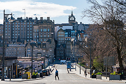 Edinburgh, Scotland, UK. 8 April 2020. Images from Edinburgh during the continuing Coronavirus lockdown. Pictured; Empty street at Waverley station and no tourist buses. Iain Masterton/Alamy Live News.