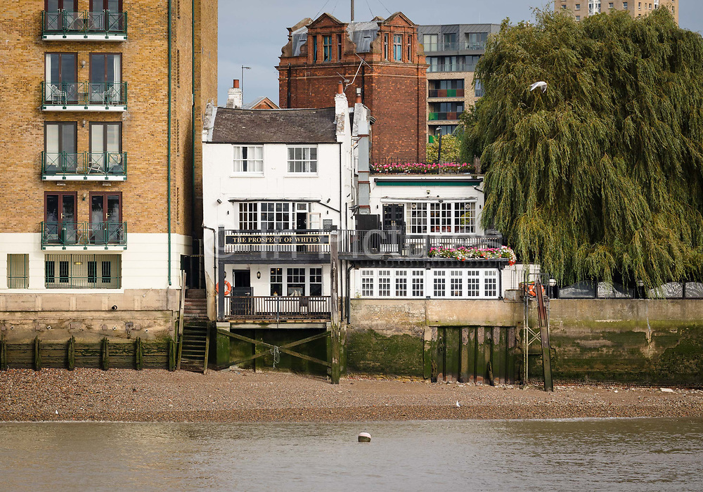 A view of the Prospect of Whitby Pub in Wapping, seen from the River Thames on September 14, 2018 in London, England.