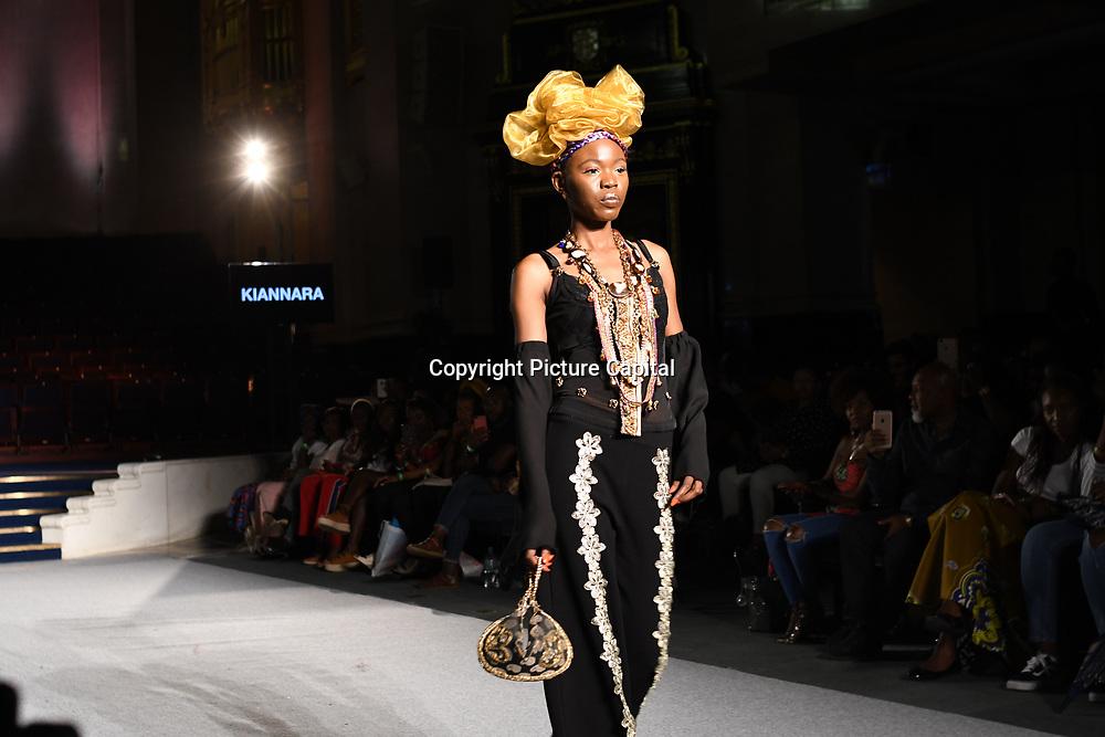 Designer Kiannara showcases its latest collection at the Africa Fashion Week London (AFWL) at Freemasons' Hall on 11 August 2018, London, UK.