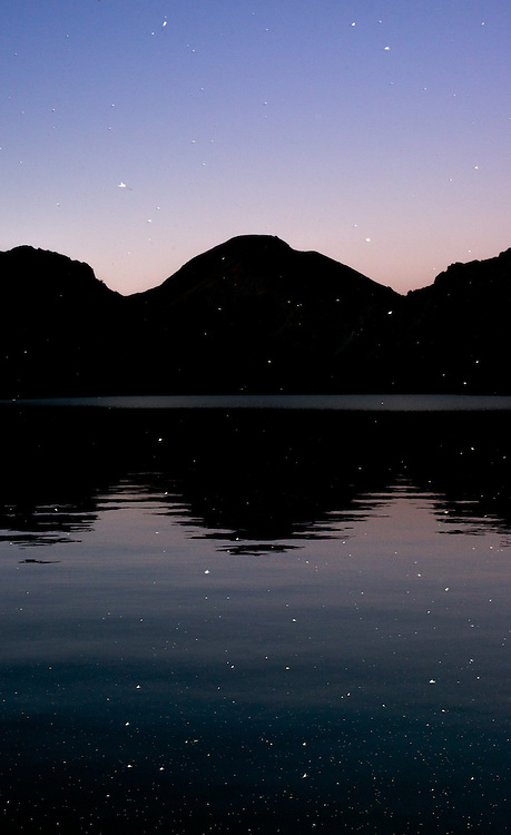 Insects illuminated by the camera's flash, fly over Summit Lake after sunset.