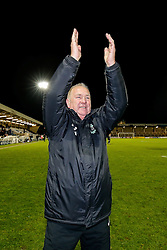 Blyth Spartans Manager Tom Wade  celebrates on the pitch after they win 1-2 to progress to the next round of the FA Cup - Photo mandatory by-line: Rogan Thomson/JMP - 07966 386802 - 05/12/2014 - SPORT - FOOTBALL - Hartlepool, England - Victoria Park - Hartlepool United v Blyth Spartans - FA Cup Second Round Proper.
