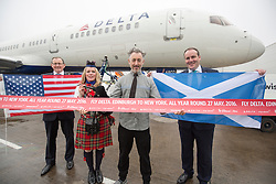 John Watson, Chief Commercial Officer, piper Louise Marshall, Alan Cumming, and Paul Wheelhouse MSP, as Delta launches their year-round nonstop service from Edinburgh to New York-JFK today at Edinburgh Airport.