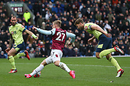 Burnley forward Matej Vydra (27) gets past Bournemouth defender Simon Francis (2) during the Premier League match between Burnley and Bournemouth at Turf Moor, Burnley, England on 22 February 2020.