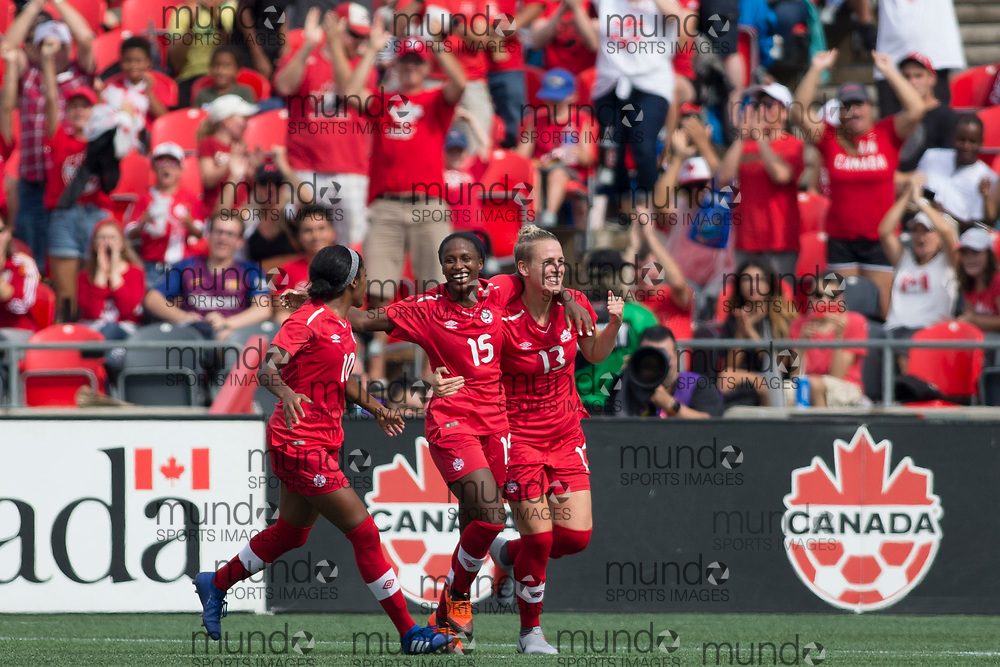 OTTAWA, ON - September 2: Nichelle Prince (15 -- F) of Canada celebrates her goal with Sophie Schmidt (13 -- M) in an international FIFA women's friendly match between Canada and Brazil at TD Place Stadium in Ottawa, Canada, September 2, 2018. (Photo by Sean Burges/Mundo Sport Images)