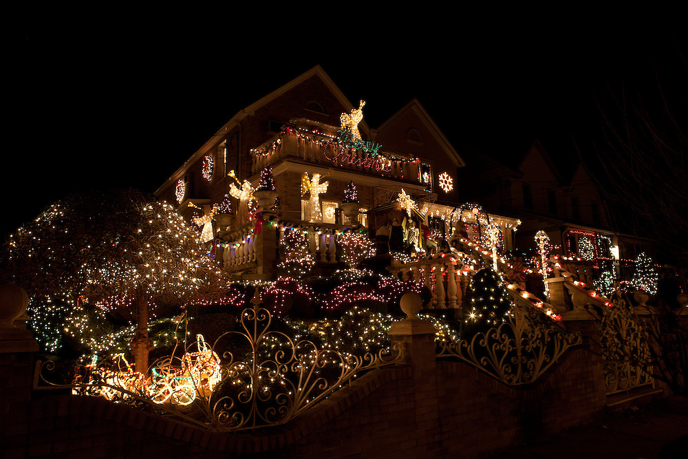 Christmas display on 12th Avenue in Brooklyn's Dyker Height's neighbrohood.