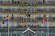 The Grand Hotel during the annual Brighton Pride parade on the 3rd August 2019 in Brighton in the United Kingdom.