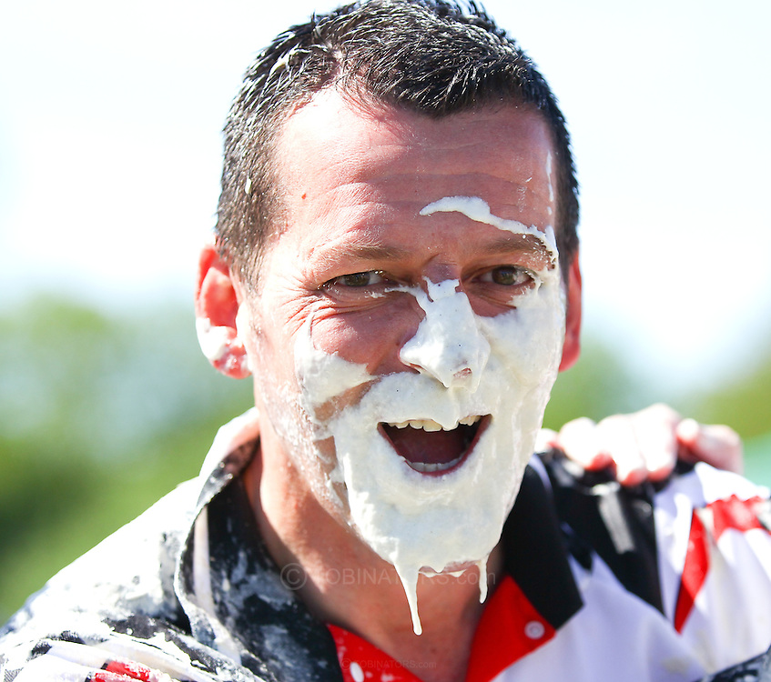 Coxheath, Kent - Saturday, May 22nd 2010: A contestant from the Coxheath team shown after the finals of the World Custard Pie Championships at Coxheath near Maidstone, Kent. Coxheath lost 96-56 to The High Pressure Cleaning Company. The first championship was held in 1967 in Coxheath using a special custard recipe developed by Richard Hearn aka Mr Pastry. The championship is made up of teams competing in heats, semi finals and the final, with the number of pies available per team increasing from 5 in the heats to 10 in the final. 6 points are scored for a direct hit on the face, 3 points for the shoulders or upwards, 1 point for any other part of the body, and points are deducted for misses. A discretionary 5 points can be awarded for the most amusing and original throwing technique. The event is part of the Rotary Club funday. (Pic by Andrew Tobin/SLIK Images)