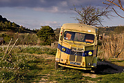 Vintage Lorry In the vineyards in the Corbieres wine region of France in springtime, 19th March 2008, Lagrasse, France.